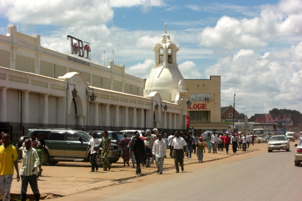 Downtown Lubumbashi with its wide boulevards and old colonial architecture.
