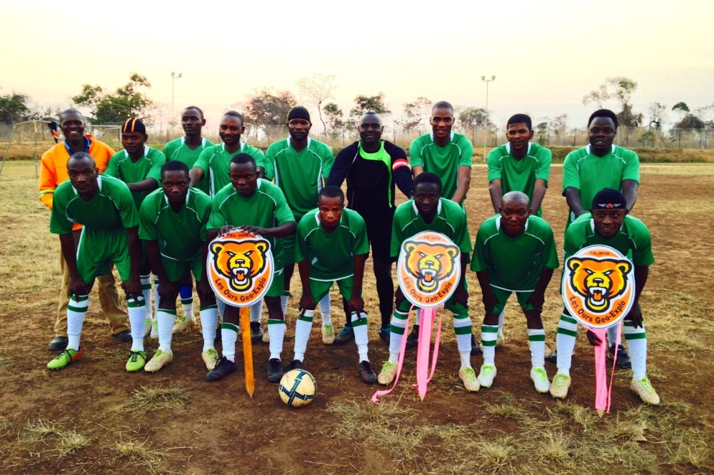 (June 2015) The geology department soccer team, showing off their choice of a very exotic mascot: the bears.