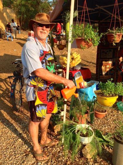 Ross tending his garden