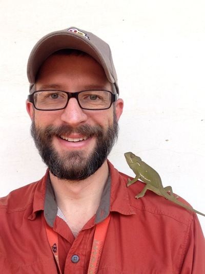 (Sept 2014) Seb made a new friend at the office, scaring the pants off every Congolese who came near. (No idea why they're afraid of chameleons, but they are.)