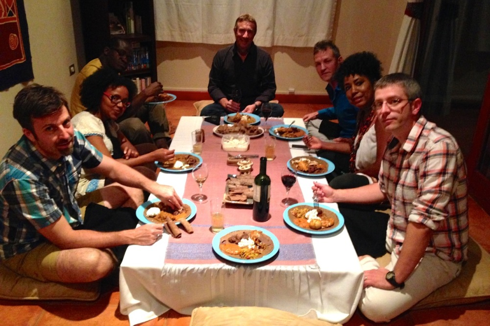 (Aug 2015) Hosting an Ethiopian dinner party for new friends. We really do have furniture, but this is much more authentic. :)