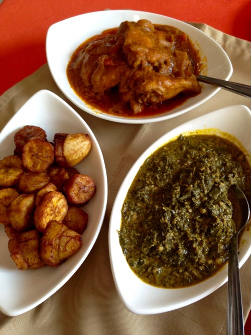 Chicken Moambe, sombe & yummy plantains from the Park Hotel, Lubumbashi