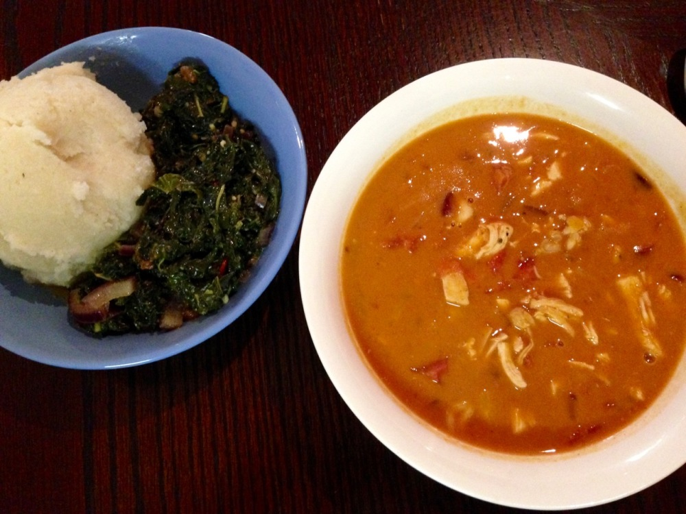 my attempt at Muamba Nsusu (Congo Chicken & Peanut Soup), with lenga-lenga (by now my preferred local green) and Viviane's fufu
