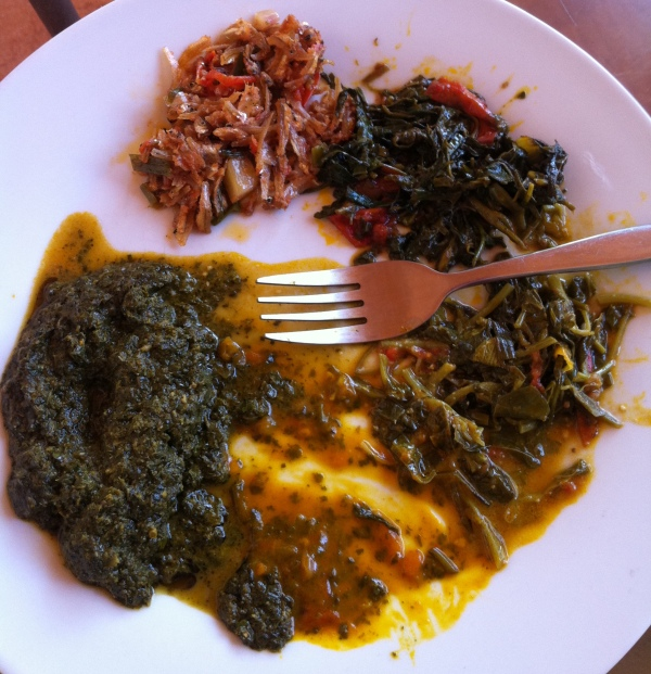 clockwise from top: Ndakala (dried river fish) Matembele (sweet potato leaves) Lenga-Lenga (amaranth leaves) Ngai-Ngai (sorrel) Sombe (cassava leaves)