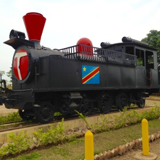 October 2015: A repurposed train engine, installed outside the reception office at Bravo camp
