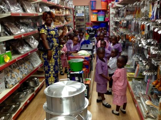 November 2015: A cute sight during a quarterly-ish ladies' shopping excursion to Lubumbashi: A kindergarten field trip to the biggest store in town