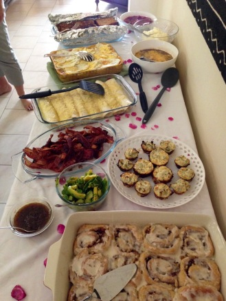 "February 2016: An amazing breakfast buffet friends threw me for my birthday, the day before leaving for our river trip correction: that's a breakfast buffet ""party"" they threw me... no food was thrown!"