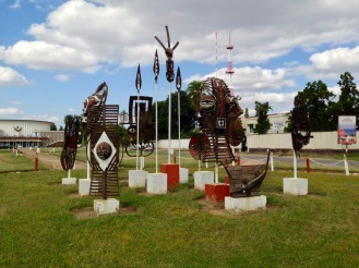 May 2016: An art installation at the park outside Parliament, where Papa Wemba was celebrated with live music each evening.